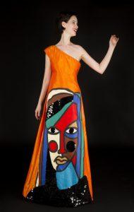 Castelbajac Robe asymétrique visage coloré